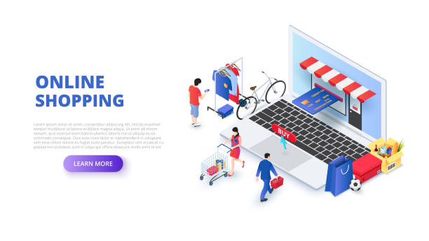 online shopping design concept with people and laptop. isometric vector illustration. landing page template for web. - shopping stock illustrations, clip art, cartoons, & icons