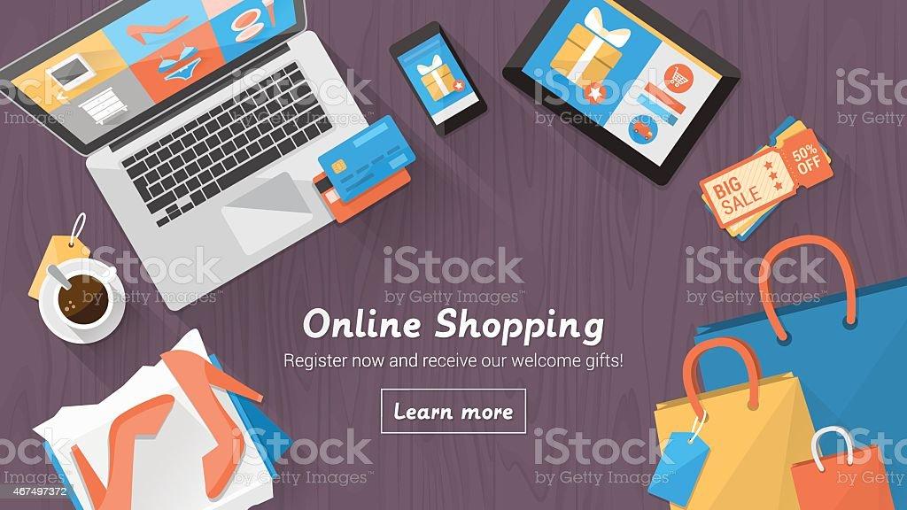 Online shopping desktop royalty-free online shopping desktop stock vector art & more images of 2015