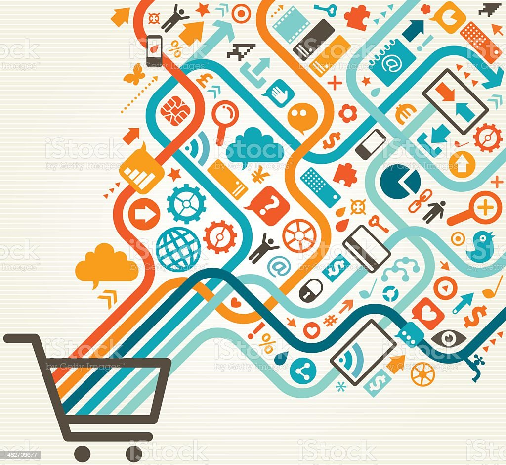 Online Shopping Diagonal Design vector art illustration