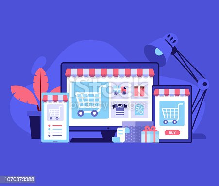 Internet shopping concept with device screens. Online digital store application banner in flat design. E-commerce advertising illustration with shopping cart and goods. Order online background.