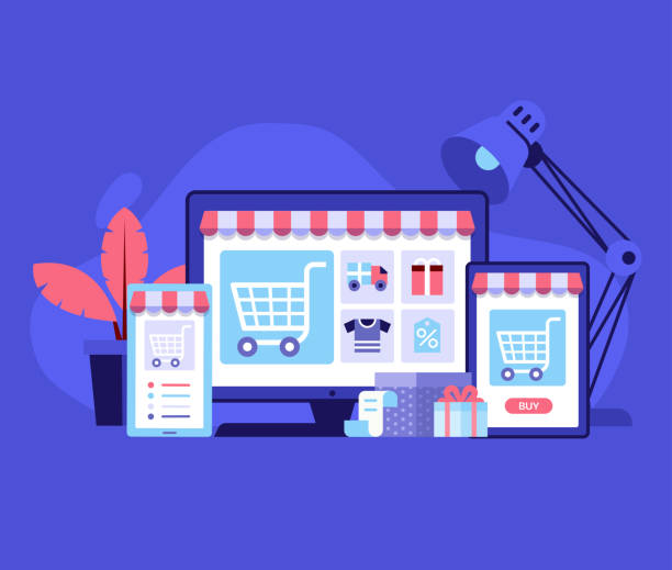 Online Shopping Digital Store Concept Internet shopping concept with device screens. Online digital store application banner in flat design. E-commerce advertising illustration with shopping cart and goods. Order online background. e commerce stock illustrations