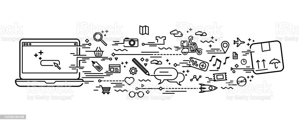 Online alışveriş doodle vektör sanat illüstrasyonu