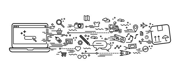 Online shopping doodle vector art illustration