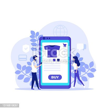 istock online shopping, E-commerce, buy online with mobile app, vector illustration with people 1316819051