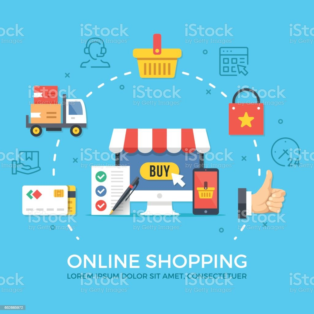 Online shopping, ecommerce. Flat design graphic elements, signs, symbols, concepts, line icons set. Premium quality. Modern vector illustration vector art illustration