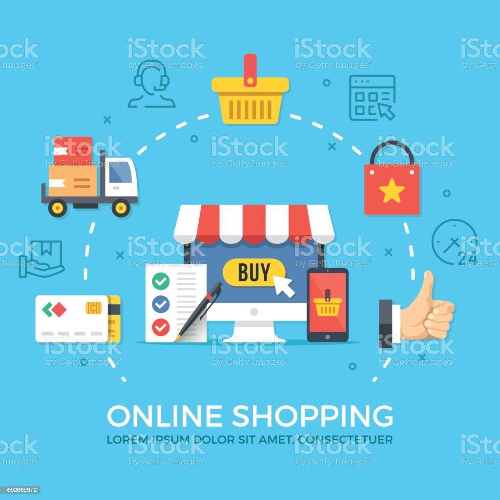 Online-shopping, e-Commerce. Flaches Design, grafische Elemente, Zeichen, Symbole, Konzepte, Zeile Icons Set. Premium-Qualität. Moderne Vektor-illustration – Vektorgrafik