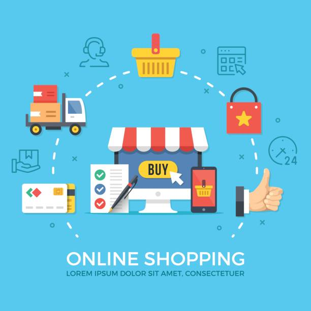 online shopping, ecommerce. flat design graphic elements, signs, symbols, concepts, line icons set. premium quality. modern vector illustration - online shopping stock illustrations