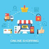Online shopping, ecommerce. Flat design graphic elements, signs, symbols, concepts, line icons set. Premium quality. Modern vector illustration