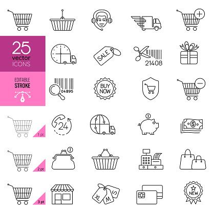 Online shopping, e-commerce line vector icons. Editable Stroke.