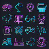 Online shopping experience neon doodle style outline symbols on dark background. Vector icons set for infographics, mobile or web page designs.