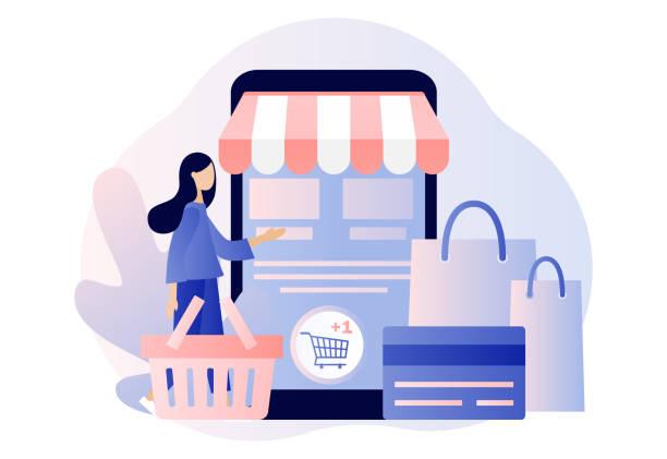 ilustrações de stock, clip art, desenhos animados e ícones de online shopping. flat cartoon style. vector illustration - online shopping