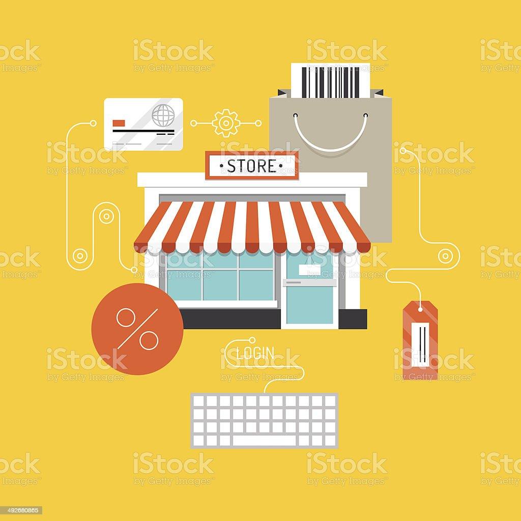 Online shopping flat illustration concept vector art illustration