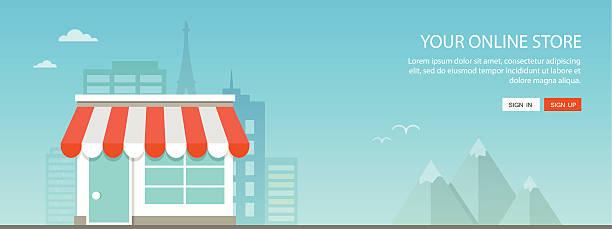 online shopping flat illustration - small business stock illustrations