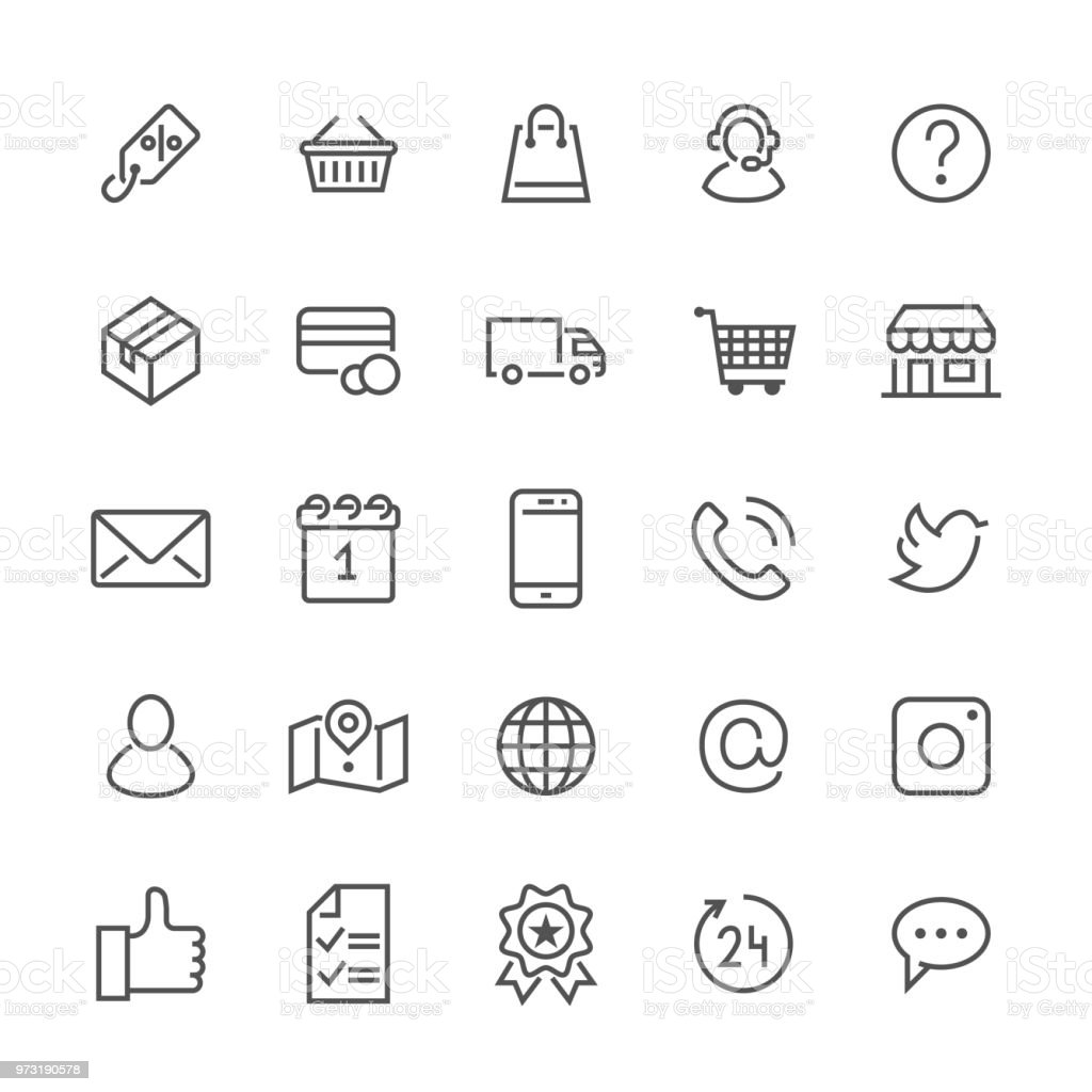 Online shopping flat line icons. E-commerce business, contacts, support, social networks, shop basket, sale, delivery illustrations. Thin signs for web store. Pixel perfect 48x48. Editable Strokes