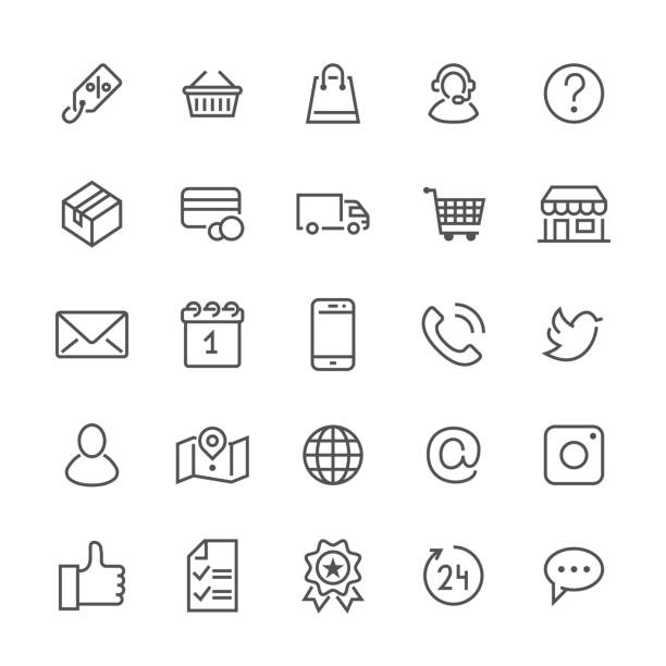 Online shopping flat line icons. E-commerce business, contacts, support, social networks, shop basket, sale, delivery illustrations. Thin signs for web store. Pixel perfect 48x48. Editable Strokes vector art illustration