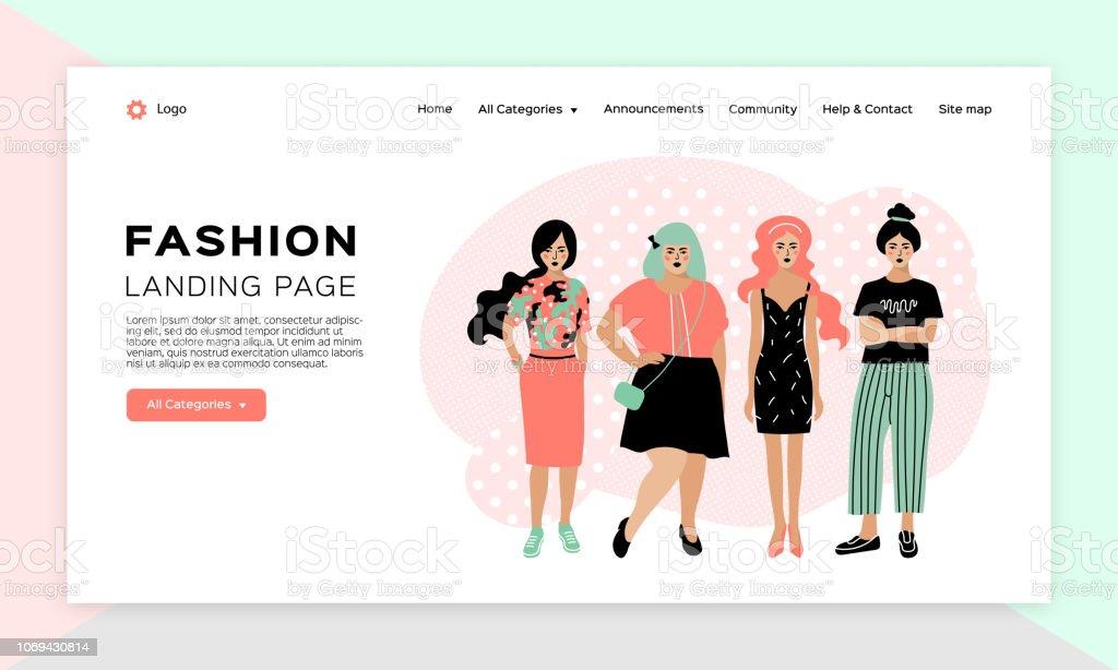 3eb4ef670 Vetor de Compras Online Garota Página De Destino De Moda Modelo De ...