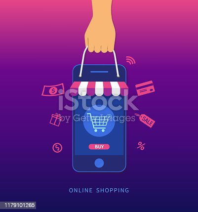 Online shopping. Hand holding smartphone and shopping bag. E-commerce concept. Vector illustration