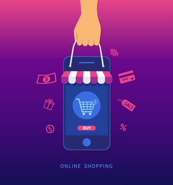 Online shopping. Hand holding smartphone and shopping bag. E-commerce concept. Vector illustration Online shopping. Hand holding smartphone and shopping bag. E-commerce concept. Vector illustration online shopping stock illustrations