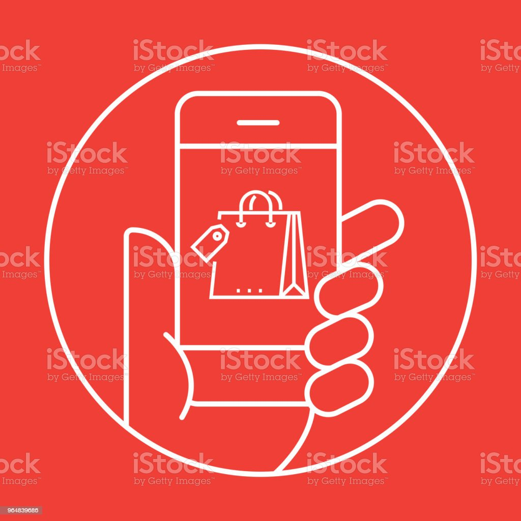 Online Shopping Icon Concept royalty-free online shopping icon concept stock vector art & more images of bag