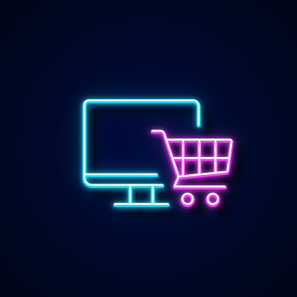 Online Shopping Icon Neon Style, Design Elements