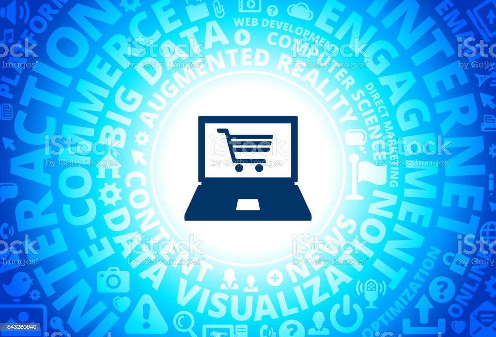Online Shopping Icon on Internet Modern Technology Words Background vector art illustration
