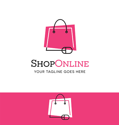 Online shopping icon. Shopping bag connected to mouse.
