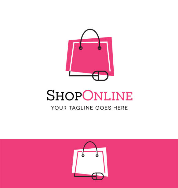 Online shopping icon. Shopping bag connected to mouse. vector art illustration