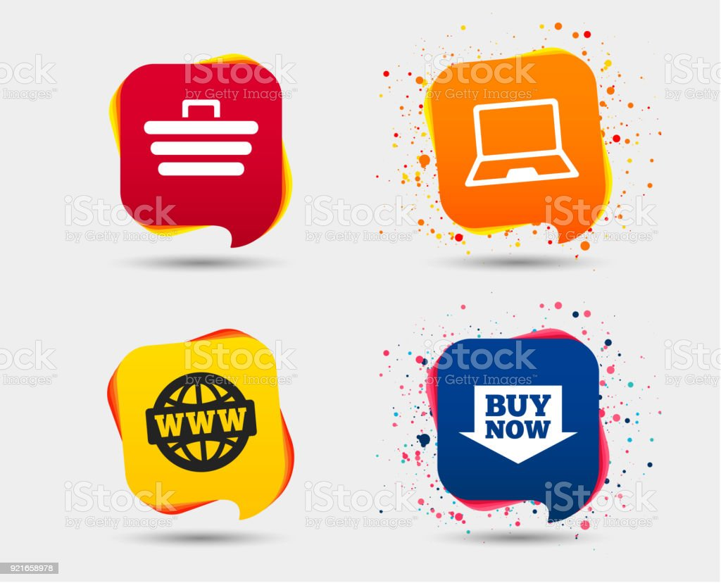 Online Shopping Icons Notebook Pc Cart Buy Stock Vector Art More
