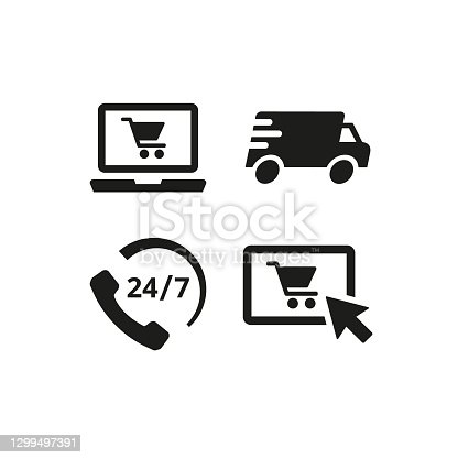 Online shopping icons on white background. Vector illustration