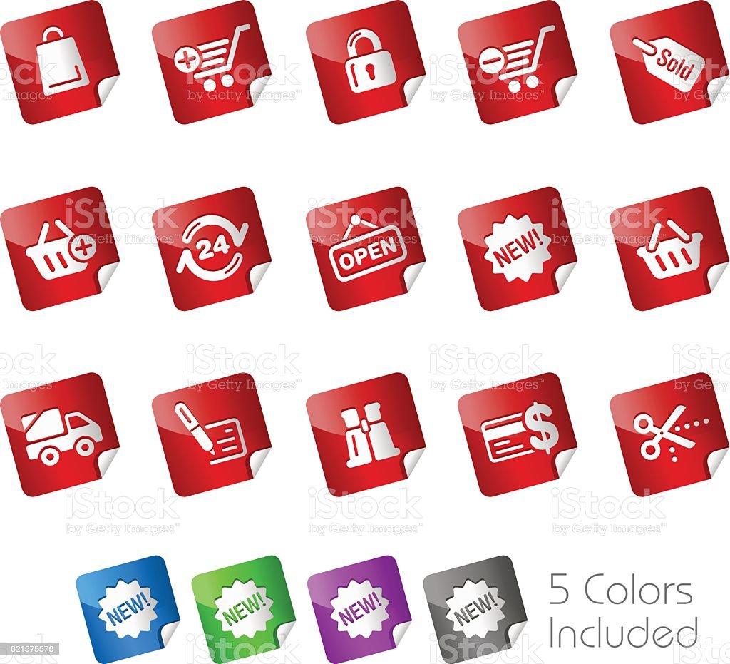 On-line Shopping Icons // Stickers Series online shopping icons stickers series – cliparts vectoriels et plus d'images de achat à domicile libre de droits