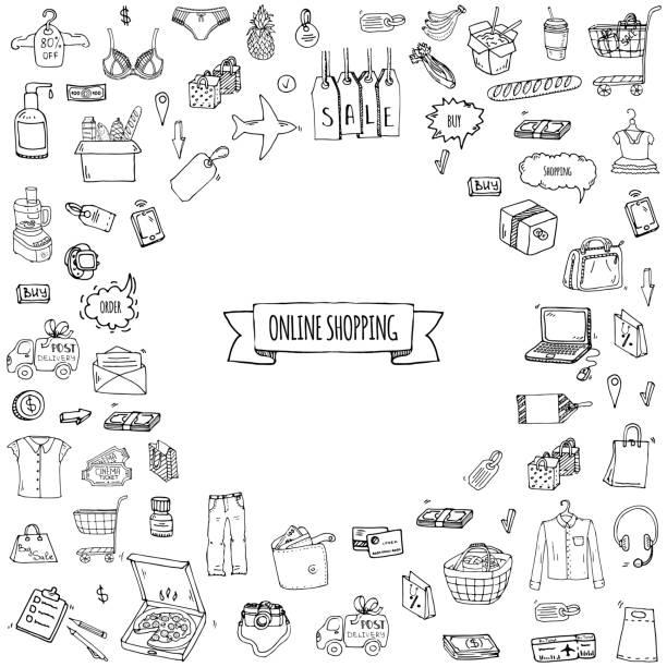 ilustraciones, imágenes clip art, dibujos animados e iconos de stock de iconos de compras en línea - shopping