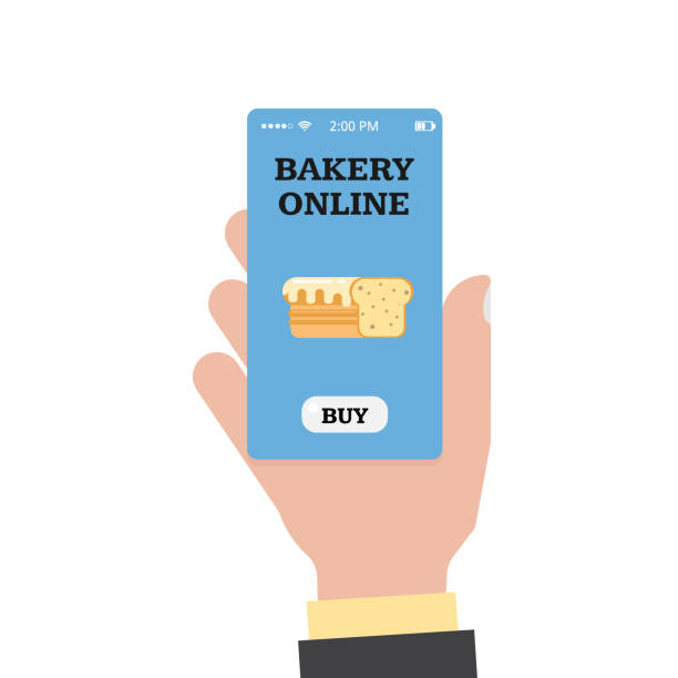 illustrazioni stock, clip art, cartoni animati e icone di tendenza di online shopping in the bakery. online bakery. store and hand with a smartphone. smartphone app. vector flat - owner laptop smartphone