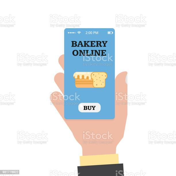 Online Shopping In The Bakery Online Bakery Store And Hand With A Smartphone Smartphone App Vector Flat - Immagini vettoriali stock e altre immagini di Affari