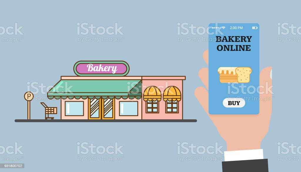 Online shopping in the bakery. Online bakery. Store and hand with a smartphone. Smartphone app. Vector flat - arte vettoriale royalty-free di Affari