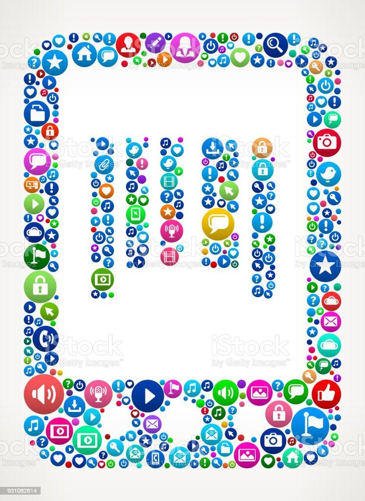 Online Shopping Internet Communication Technology Icon Pattern vector art illustration