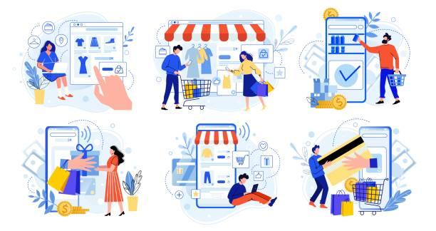 zakupy online. rynek internetowy, zakupy aplikacji mobilnych i ludzie kupują prezenty. smartphone płatności i strój sprzedaży płaskiej wektorowej ilustracji zestaw. koncepcja handlu elektronicznego. nabywcy postaci z kreskówek - handel detaliczny stock illustrations