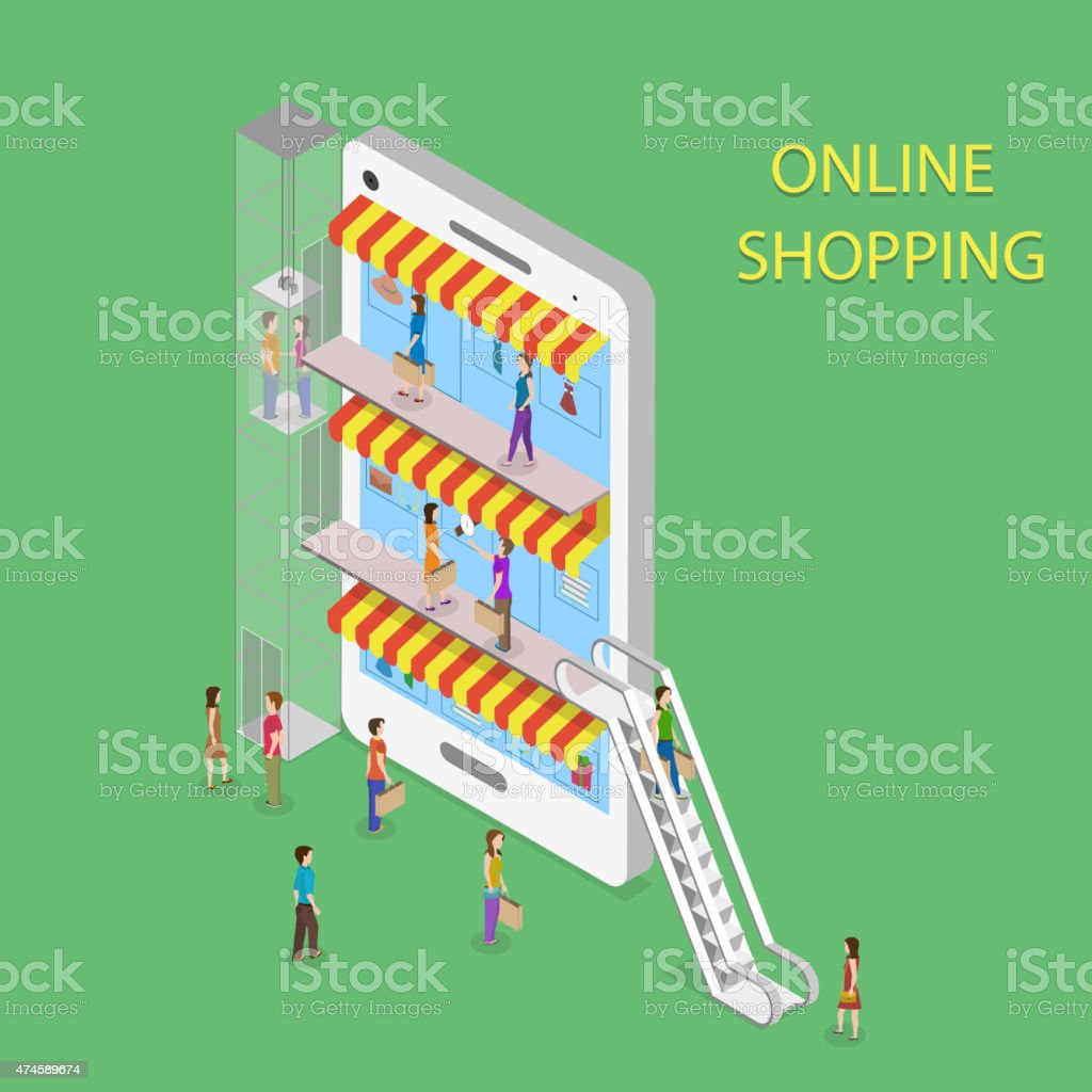 Online Shopping Isometric Concept Illustration. vector art illustration