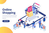 Online shopping isometric concept. People making online shopping.