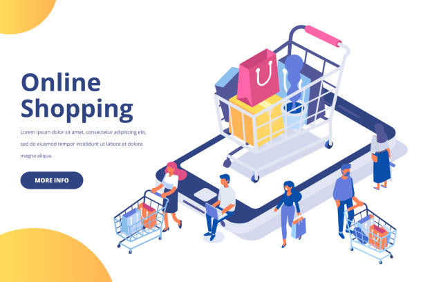 Online shopping isometric concept. People making online shopping. Isometric laptop. Flat vector design isolated on white background. online shopping stock illustrations