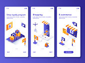 Online shopping isometric GUI design kit. Shop loyalty program, e-commerce templates for mobile app. Customer services UI UX onboarding screens