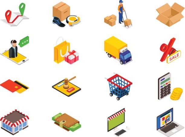 online-shopping-isometrische elemente - geldstrafe stock-grafiken, -clipart, -cartoons und -symbole