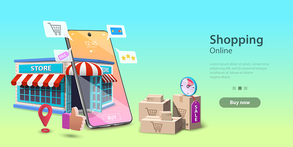 Online Shopping Landing Page Template, Mobile Store Concept, Fast Delivery.