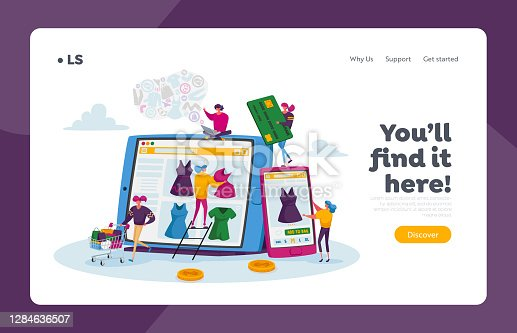 istock Online Shopping Landing Page Template. Tiny Female Customers with Credit Card Buying Goods at Huge Gadget Screen 1284636507