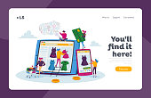 Online Shopping Landing Page Template. Tiny Female Customer Character with Credit Card Buying Goods at Huge Gadget Screen. Digital Purchase, Internet Store Business. Cartoon People Vector Illustration