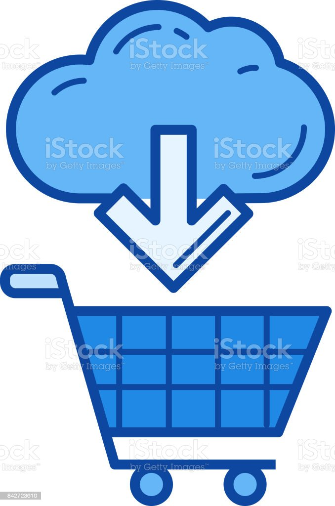 Online shopping line icon vector art illustration
