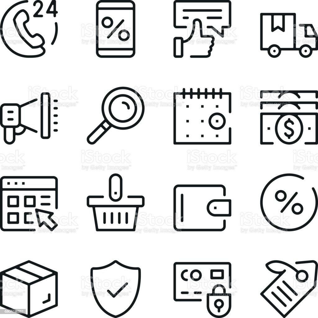 Onlineshopping Zeile Icons Set Moderne Grafikdesignkonzepte Einfache ...