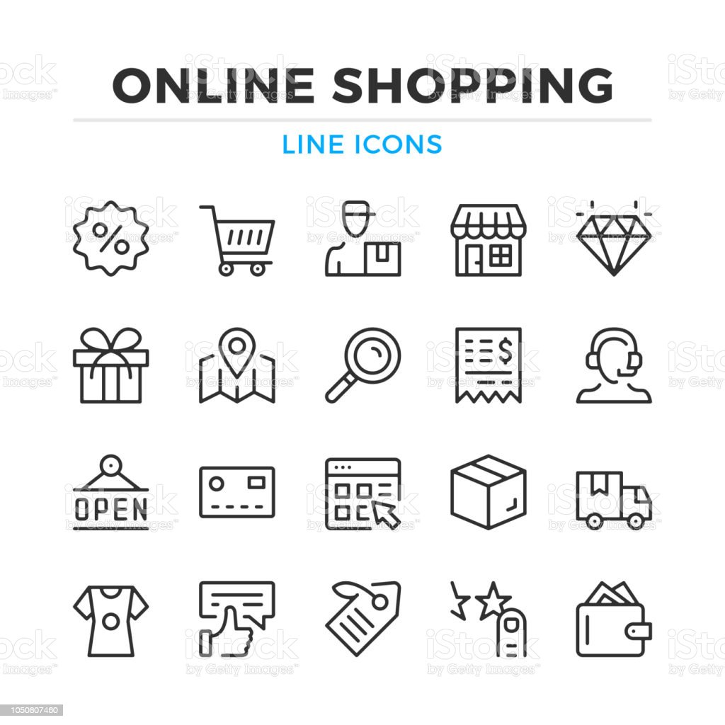 Online Shopping Line Icons Set Modern Outline Elements Graphic Design Concepts Stroke Linear Style Simple Symbols Collection Vector Line Icons Stock Illustration Download Image Now Istock