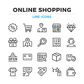 Online shopping line icons set. Modern outline elements, graphic design concepts. Stroke, linear style. Simple symbols collection. Vector line icons