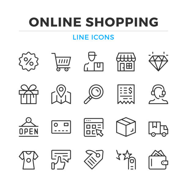 Online shopping line icons set. Modern outline elements, graphic design concepts. Stroke, linear style. Simple symbols collection. Vector line icons Online shopping line icons set. Modern outline elements, graphic design concepts. Stroke, linear style. Simple symbols collection. Vector line icons online shopping stock illustrations