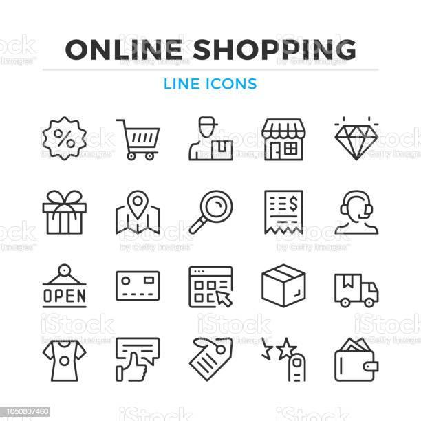 Online Shopping Line Icons Set Modern Outline Elements Graphic Design Concepts Stroke Linear Style Simple Symbols Collection Vector Line Icons - Arte vetorial de stock e mais imagens de Aplicação móvel